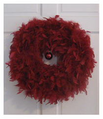 Feather boa wreath is cool, when you are a sequined fool!