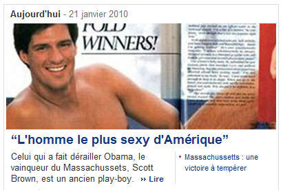 French news points out sexy Republican Scott Brown's Cosmo connection: l'homme le plus sexy d'Amérique!