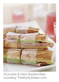 Avocado and ham sandwiches for a healthy picnic. Or come up with your own variation!