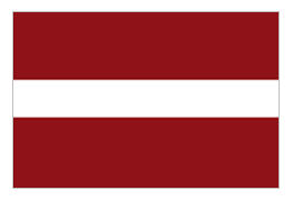 Latvian flag - flying well in our household!