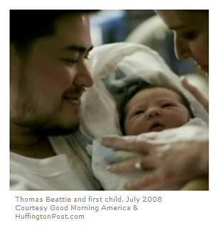 """Thomas Beattie, """"Pregnant Man,"""" with first child, July 2008, courtesy GMA and HuffPost."""