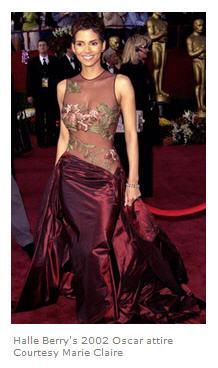 Halle Berrys 2002 Oscar attire courtesy Marie Claire