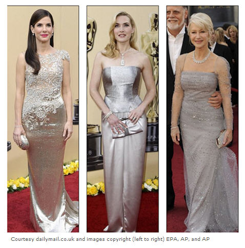 Shimmering silver for Academy Award fashion