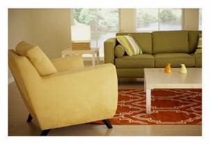 Uncluttered living room with hidden storage