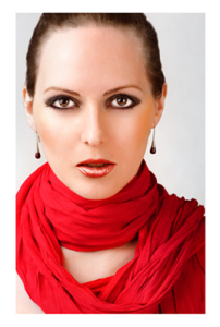 Red Draped Scarf