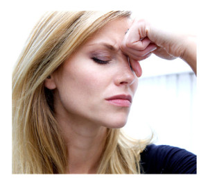Woman with Worries eyes closed