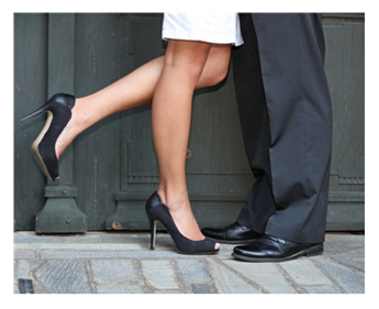 Couple in doorway black high heels