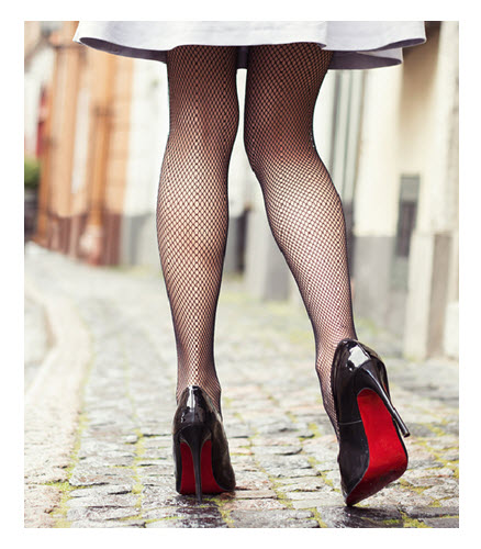 Fishnets and Red Soled High Heels