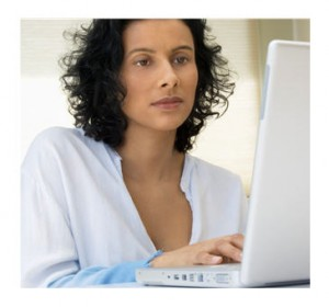 Woman writing online