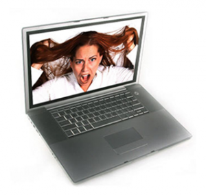 Woman Screaming on Computer Screen