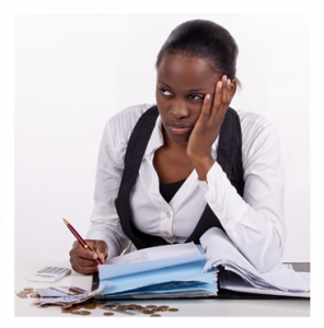 Woman with financial worries