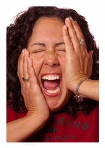 Crazy stressed screaming woman