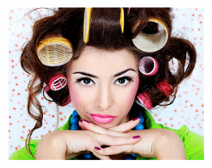 Woman in Crazy Curlers