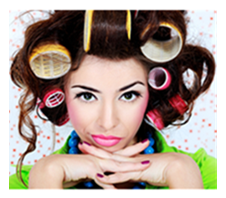 Woman in Curlers Making a Face