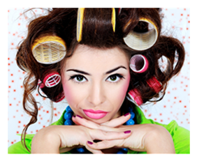 Woman in Curlers with Surly Expression