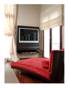 Luxury interior with large screen TV