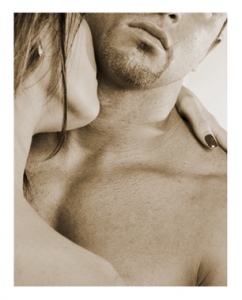 Woman and Man in Intimate Embrace