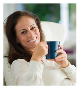 Mature Woman Smiling with Coffee