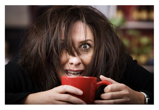 Coffee Crazed Woman with Red Cup