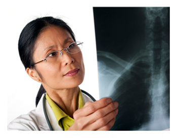 Female Physician Reading X-Ray