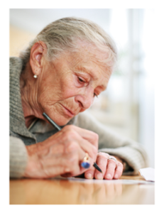 Older woman Writing