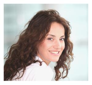 Smiling Adult Woman Long Hair