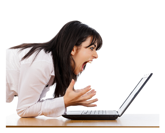 Woman Screaming at Her Laptop