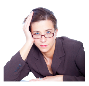 Weary Working Woman in Glasses