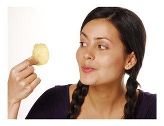 Woman Staring Down a Potato Chip
