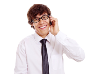 Young Man Smiling on Phone sm