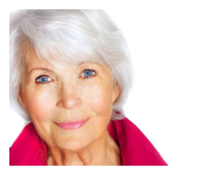 Beautiful Silver Haired Woman with Blue Eyes