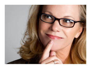 Woman in Glasses Thinking