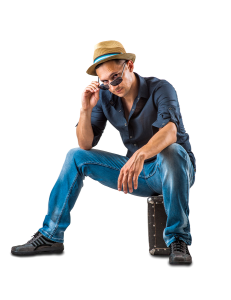 Man sitting looking over sunglasses