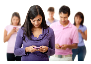 Group of Young People Texting