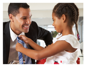 Daughter straightens father's tie