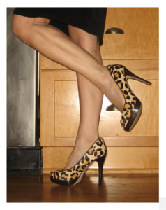 Michael Kors Peep Toe Leopard Pumps on Little Legs