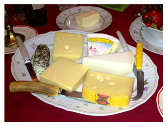 French dinner Cheese from 6 countries