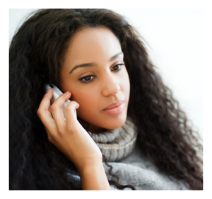 Young Woman on the Phone Serious Expression