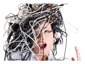 Woman with wires and cables on her head