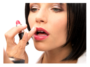 Woman Putting on Lipstick before a date