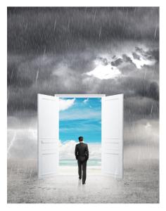 Man walking through portal in the rain