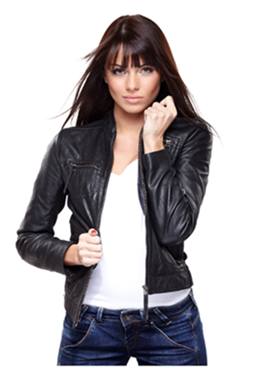 Woman in Leather Jacket and Jeans