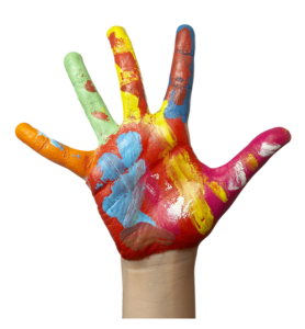 Childs Hand Covered in Paint