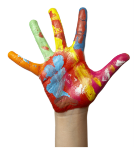 Paint Covered Childs Hand