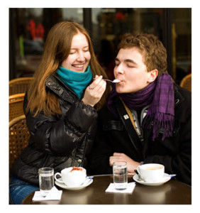 Romantic Couple in Paris Cafe