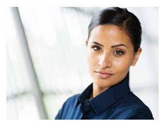 Young Businesswoman Blue Shirt