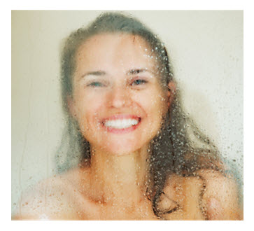 Woman in Shower Smiling