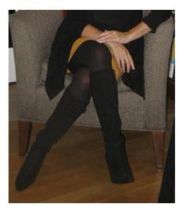 Black Boots Black Tights Pumpkin Skirt