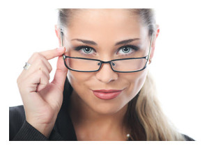 Blue Eyed Woman Looking Over Her Glasses
