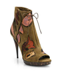 Burberry Hand-Painted Peep-Toe Ankle Boots